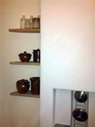 lime plastered kitchen with local ash shelves, Ulverston