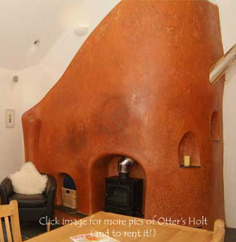 Earthen plastered cob staircase, built by Jack in the Green at Otter's Holt near Tiverton
