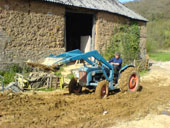 Mixing cob with a tractor