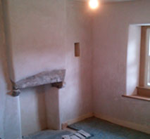Bedroom plastered with lime near Kendal