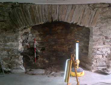 Emptied inglenook fireplace