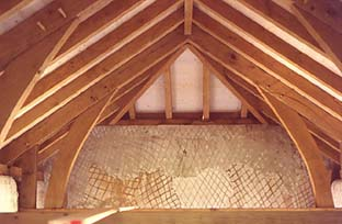 oak roof by Jake Jackson and Jack in the Green against lime plastered scratch coat