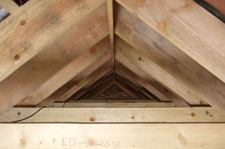 cut and pitched common rafter roof in Douglas Fir