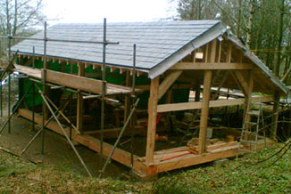 timber framed outbuilding in progress