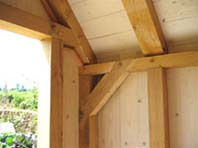 detail of oak framed porch